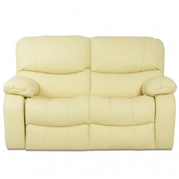 Кожен диван - двойка с релакс механизъм LOUISA - шампанско