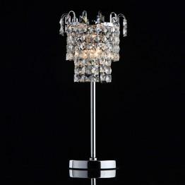 Настолна лампа MW-Light Crystal, Метал / Стъкло, Цвят Хром / Прозрачен