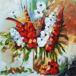 Картина Casa Interior, Ваза с цветя Гладиоли, 60/60 см