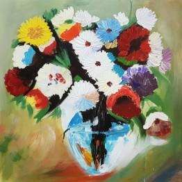 Картина Casa Interior, Ваза с цветя Маргаритки, 60/60см