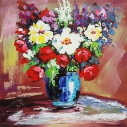 Картина Casa Interior, Ваза с полски цветя, 60/60см