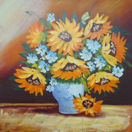 Картина Casa Interior, Ваза със слънчогледи, 60/60см