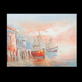Картина Casa Interior, Лодки в морето, 40/30 см